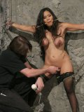 Asian slave beauty Jessica Bangkok gets tortured and vibrated in suspension and on the ground