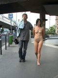 Beautiful gagged brunette Lucy Belle with sweet plump tits gets banged hard in the public.