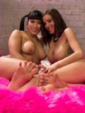 Gia DiMarco and busty fetish babe Mia Li teasing each other and licking slit and hot feet.