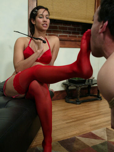 Domina Isis Love in red underwear fucks tied slave man in the ass with black strap-on dildo