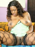 Dark skinned BBW slut Kim Eternity in black stockings gets her fuck hole penetrated