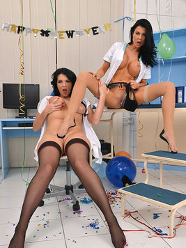 Jasmine Jae and cute Emma Leigh in sexy nurse uniforms while playing with bottles and heels.