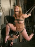 Mater dressed in black loves rope bondage and Sasha Knox's sexy helpless body