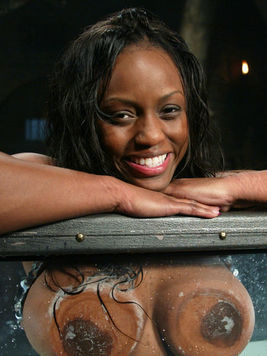 Heavy titted black Jada Fire gets a water torture in the dungeon of white aged master