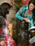 Cindy Gold, Rachel Evans and Carmen Black put on clothed wet and messy party