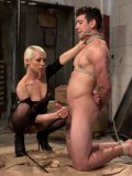 Lorelei Lee punishing a femdom lover while stepping on his cock and drilling him with a dildo.