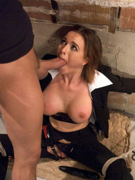 Brunette Krissy Lynn tries rough sex combined with bondage and ens up gagged and filled with cock.