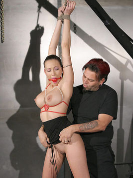 Tattooed master loves to play with shapely tits and neat pussy of leggy latina slave Layla Rivera