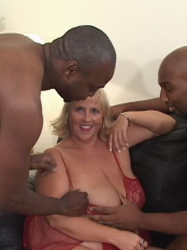 Chunky Daphne Stone strips out of her red lingerie to have sex with two black guys