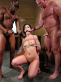 Bound Luscious Lopez gets interracially double fucked by Mark Davis and Sean Michaels
