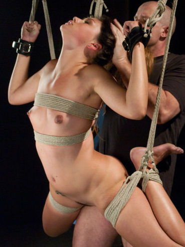 Attractive small titted slave hottie Allie Haze gets banged in rope bondage