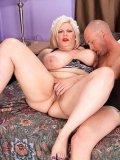 Fat blonde maid Tiffany Blake gets slammed by skinny guy in a hotel room