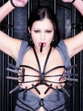Curvy Italian slave brunette Aria Giovanni with massive tits and shaved snatch