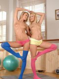 Cherry Kiss and Ivana Sugar get naked during lesbian fetish while practicing yoga and licking feet.