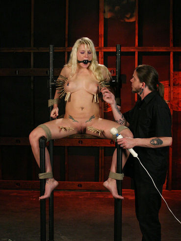 Heidi Mayne gets her pussy rubbed with vibrator with ball gag in her mouth and clamps on her tits