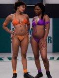 Lesbian wrestling match between dark skinned girls Coffee Brown and Yana Jordan
