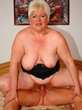 Plump blonde granny Iman gives deep blowjob and gets nailed in the bedroom