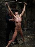 Slave brunette Wenonas World gets her sexy slender body punished hard with water