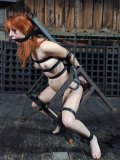 Calico Slave gets her pussy filled with cock and her ass with metal hook after humiliation