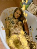 Kinky girls Amanda Vamp and Barbara Sweet  getting wet and messy in the bathroom
