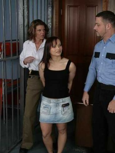 Big ass prisoner Katja Kassin strips nude and bends over for anal check up