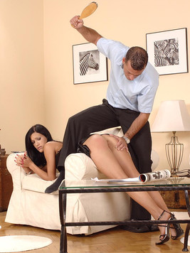 Missy Nicole in black satin nightie gets penetrated after some spanking
