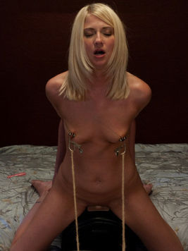 Nevaeh gets her tits tortured on the sybian after getting banged by dildo machine