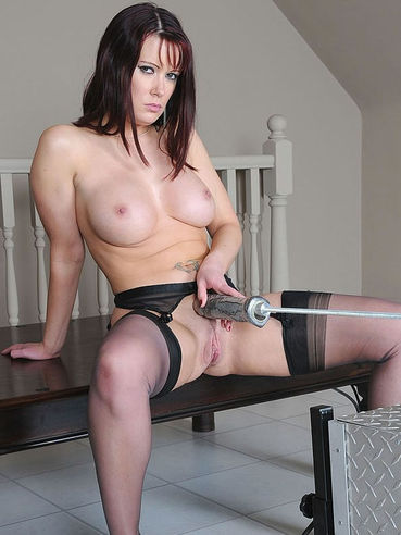 Big titted brunette in stockings Tanya Cocks gets her snatch dildoed by fucking machine