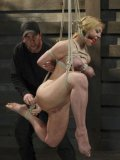 Darling screaming with sweet passion and pain while her tits are tied and slit bdsm tenderized.