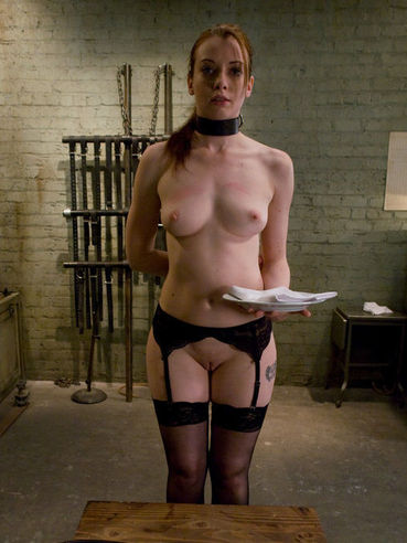 Sub girl Amber Keen in black stockings gets her pussy punished with cock by Maestro