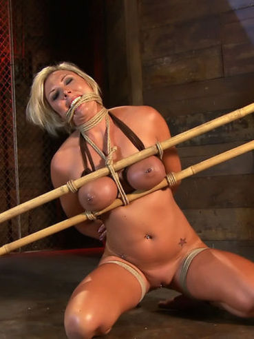 Rope bound busty blonde milf Skylar Price gets her asshole and pussy stretched