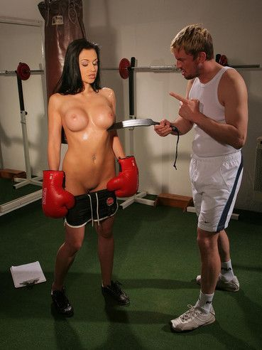 Naked busty brunette Aletta Ocean gets spanked and trained at the gym and outdoors
