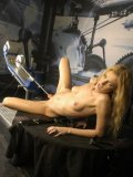 Latex crazed slim blonde Mia Anderson gets her slit drilled by pleasure-giving fucking machine