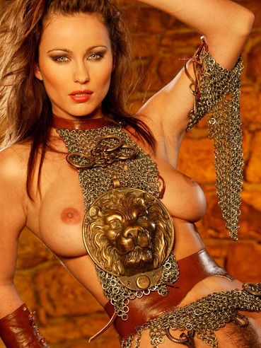 Beautiful lady warrior with sword Kyla Cole demonstrates her big tits and hairy snatch