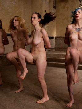 Slaves Iona Grace,  Krysta Kaos, Coffee Brown, Emma Haize and Missy Mink get trained all together