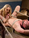 After a kinky session of bondage Aiden Starr sucks cock, gets her slit licked and filled up.