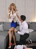 Erica Fontes gets naked for a foot & legs loving businessman and fucks him hardcore.