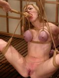 Busty tied up Adrianna Nicole gives water bondage and water torture a try