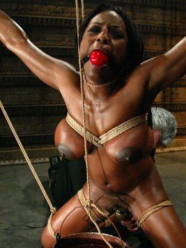 Rope bound big breasted black lady Jada Fire can't breath in a water tank