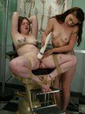 Dominating nurse Carly tortures holes of Ginger with no mercy in the hospital