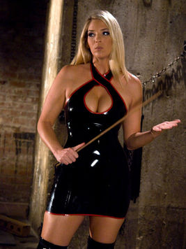 Jordan Kingsley strips out of her black latex dress to fuck her male slave Rico