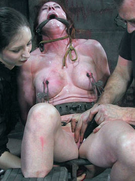 Bound Catherine De Sade gets whipped from top to toe together with another slave girl