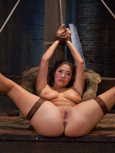 Big titted asian slave girl London Keyes gets bound and nailed in Derrick Pierce's dungeon