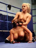 Hot blooded lesbian fighters Brandy Smile and Valery Summers use tongue and dildo