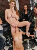 Cute red-haired chick Faye Reagan in scenes of public lesbian humiliation