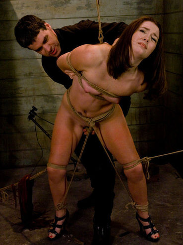 Sub girl Savannah West gets impaled on sextoy after spanking and then takes Maestro's cock