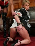 Obedient maid Janay and masked slave man Gallant Reflex getting dominated by Extreme Alex
