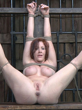 Slave Catherine De Sade with shaved pink pussy gets her ass filled with toy and her mouth with cock