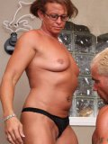 Hot muscle woman with glasses Christy Donat gets her hairless pussy drilled by white-haired man