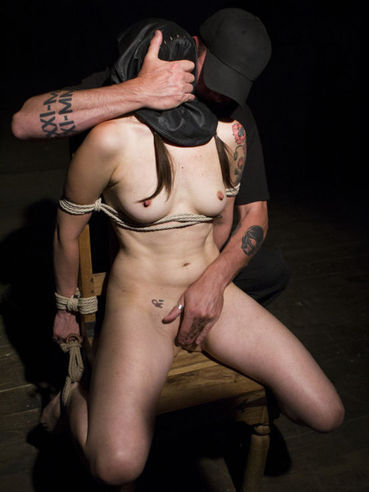 Pony tailed Freya French in ropes and getting tied filliped upside down during hardcore bondage.
